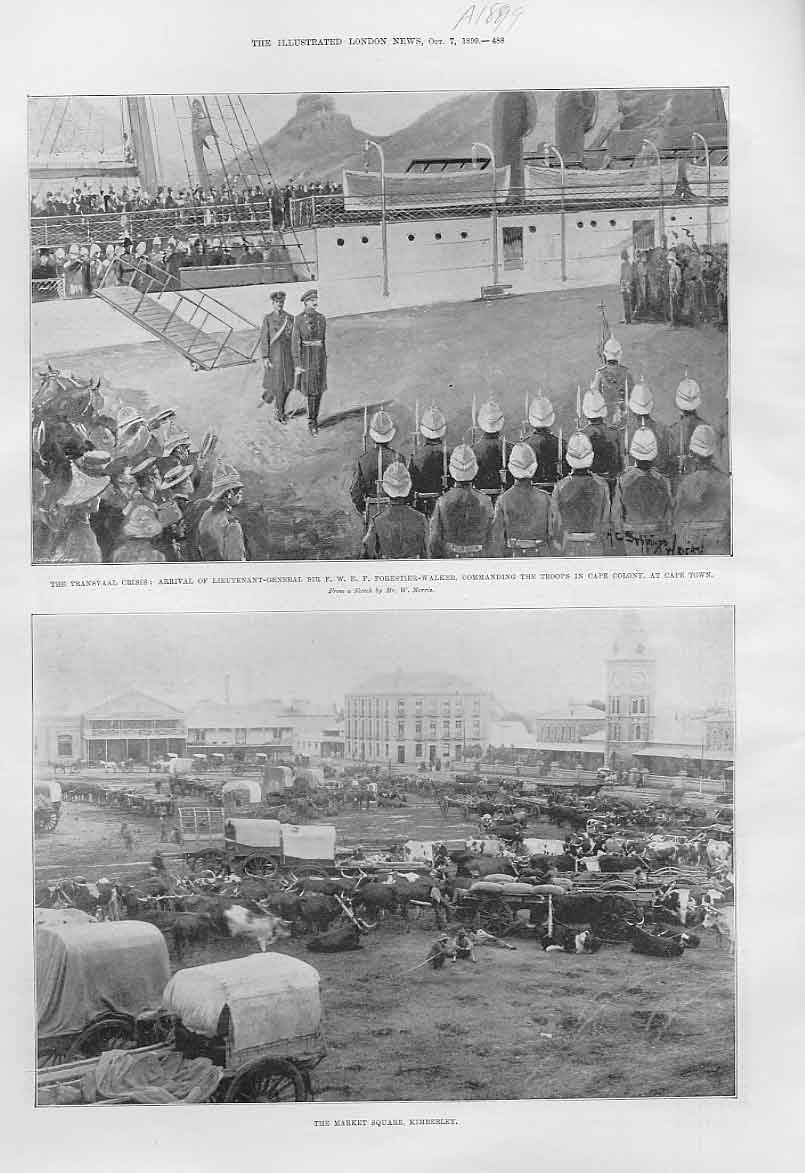 Print Market Square Kimberley Ox Wagons 1899 Af 88Aaa1 Old Original