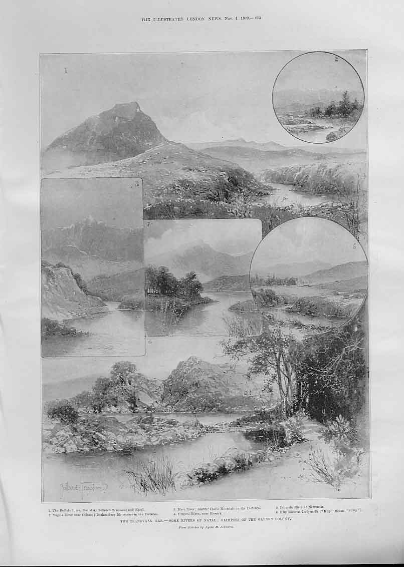 [Print Rivers In Natal Garden Colony Africa 1899 53Aaa1 Old Original]