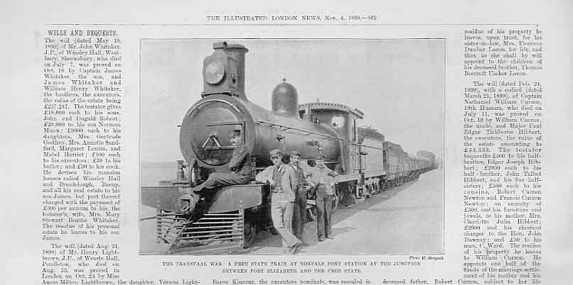 Print Free State Train At Norvalls Station South Africa 1899 62Aaa1 Old Original