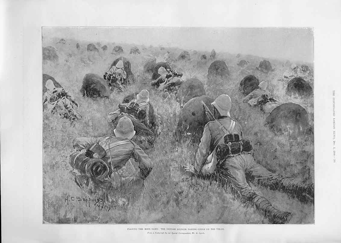 Print Playing Boer Game Hiding In The Veldt 86Aaa1 Old Original