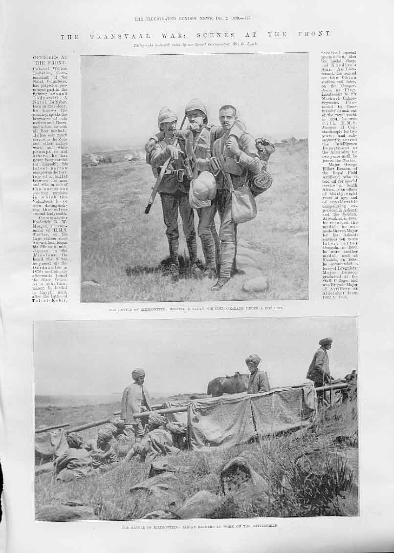 Print Battle Rietfontein 1899 Indian Bearers Boer War 87Aaa1 Old Original