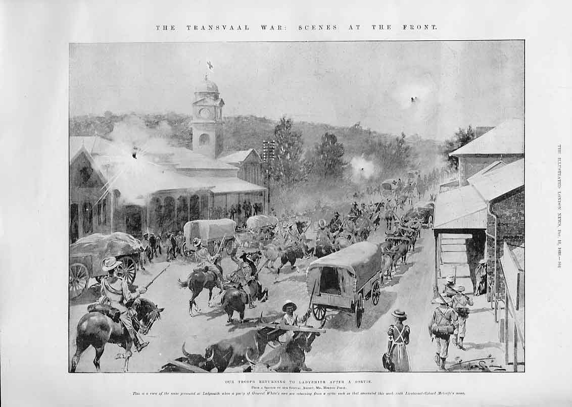 Print Main Street Ladysmith 1899 Troops 64Aaa1 Old Original