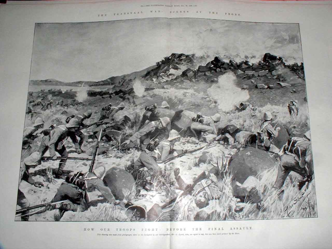 Print How Our Troops Fight : Before The First Assault Boer Wa 73Taaa1 Old Original
