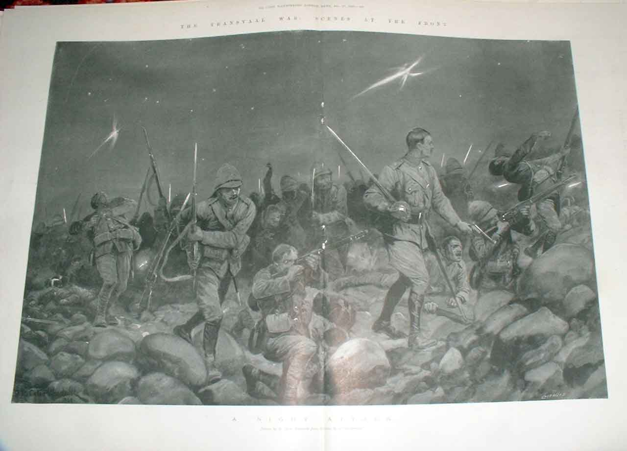 Print Night Attack Transvaal War 1899 Africa 13Taaa1 Old Original