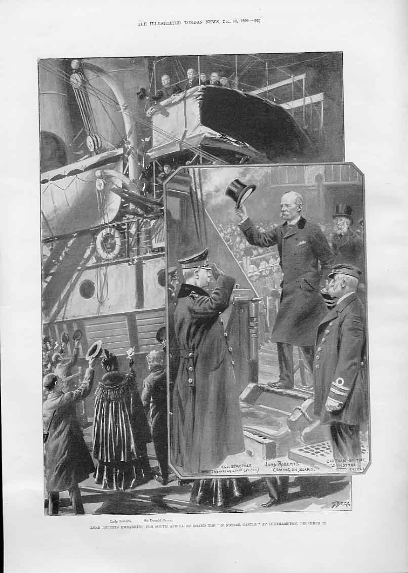 Print Lord Roberts On Dunottar Castle For S Africa 1899 40Aaa1 Old Original