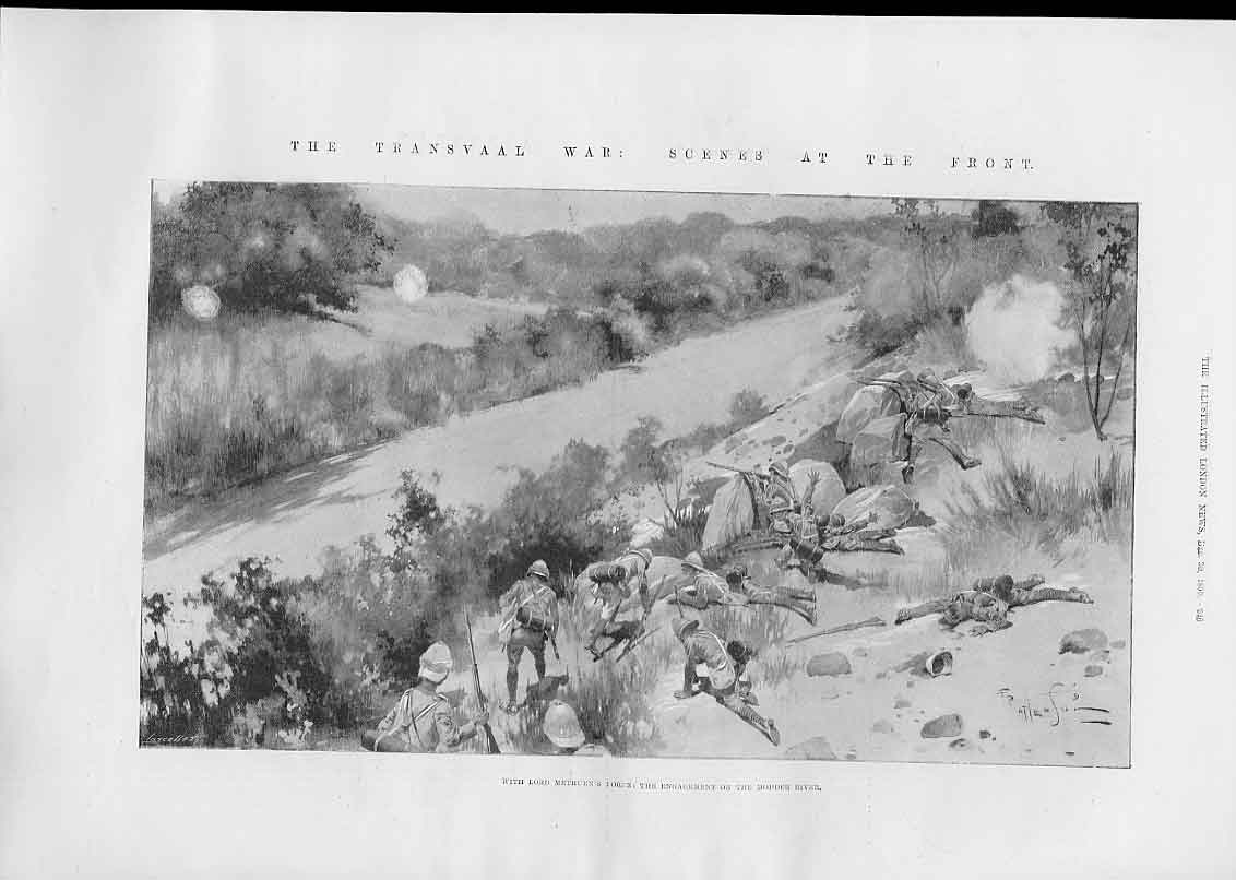 Print Methuens Force Engage On Modder River Natal 1899 46Aaa1 Old Original
