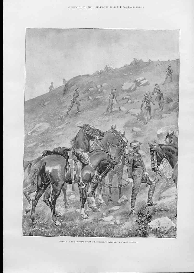 Print Holding Horse During Attack Boer War 1899 73Aaa1 Old Original