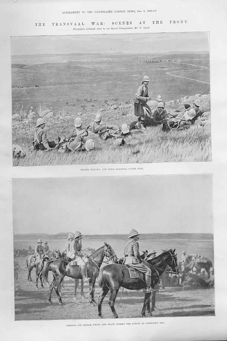 Print Troops Wagons & Field Hospital Under Fire Boer War 74Aaa1 Old Original