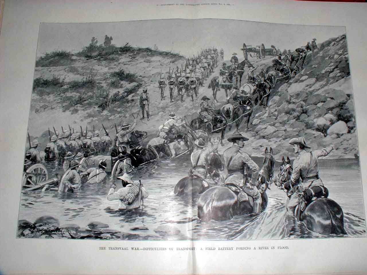 Print Transvaal War Field Battery Fording Flooded River 1899 90Taaa1 Old Original