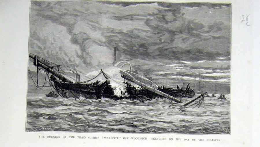 Print Burning Training Ship Warspite Off Woolwich 1876 28Lbbb0 Old Original