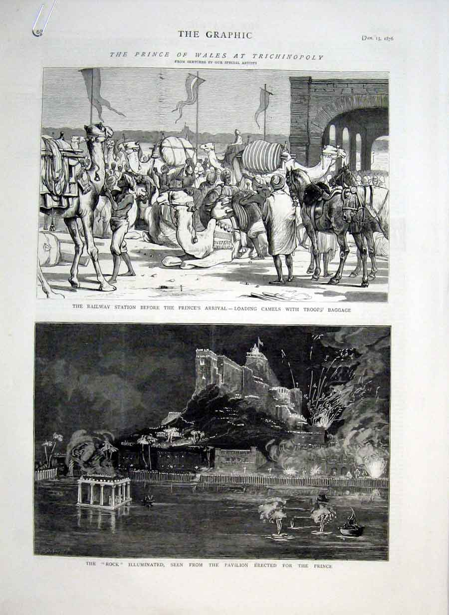 Print Prince Wales At Trichinopoly India & Ceylon 1876 68Abbb0 Old Original
