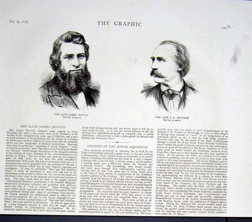 Print Portraits Hinton Zwecker 1876 01Ubbb0 Old Original
