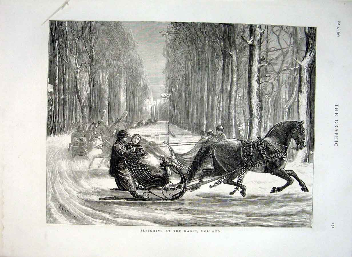 Print Sleighing At Hague Holland 1876 37Bbb0 Old Original
