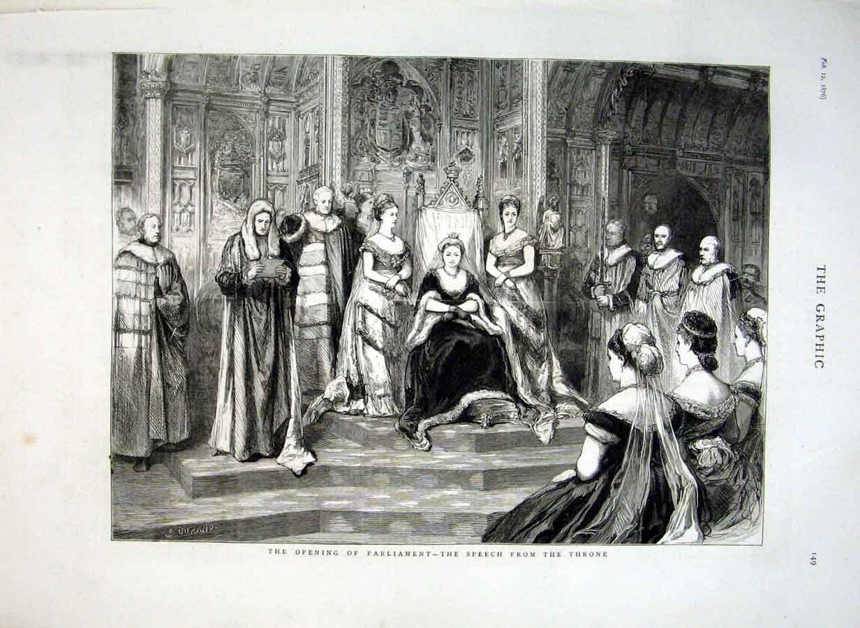 Print Speech From Throne Opening Parliament 1876 49Bbb0 Old Original
