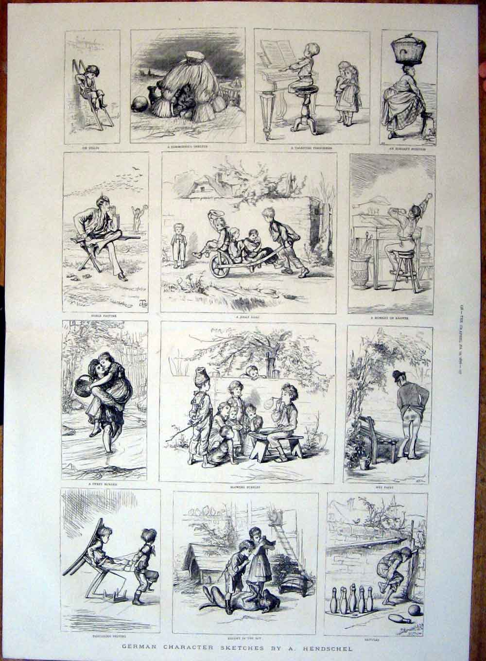 Print German Character Sketches By Hendschel 1876 55Tbbb0 Old Original