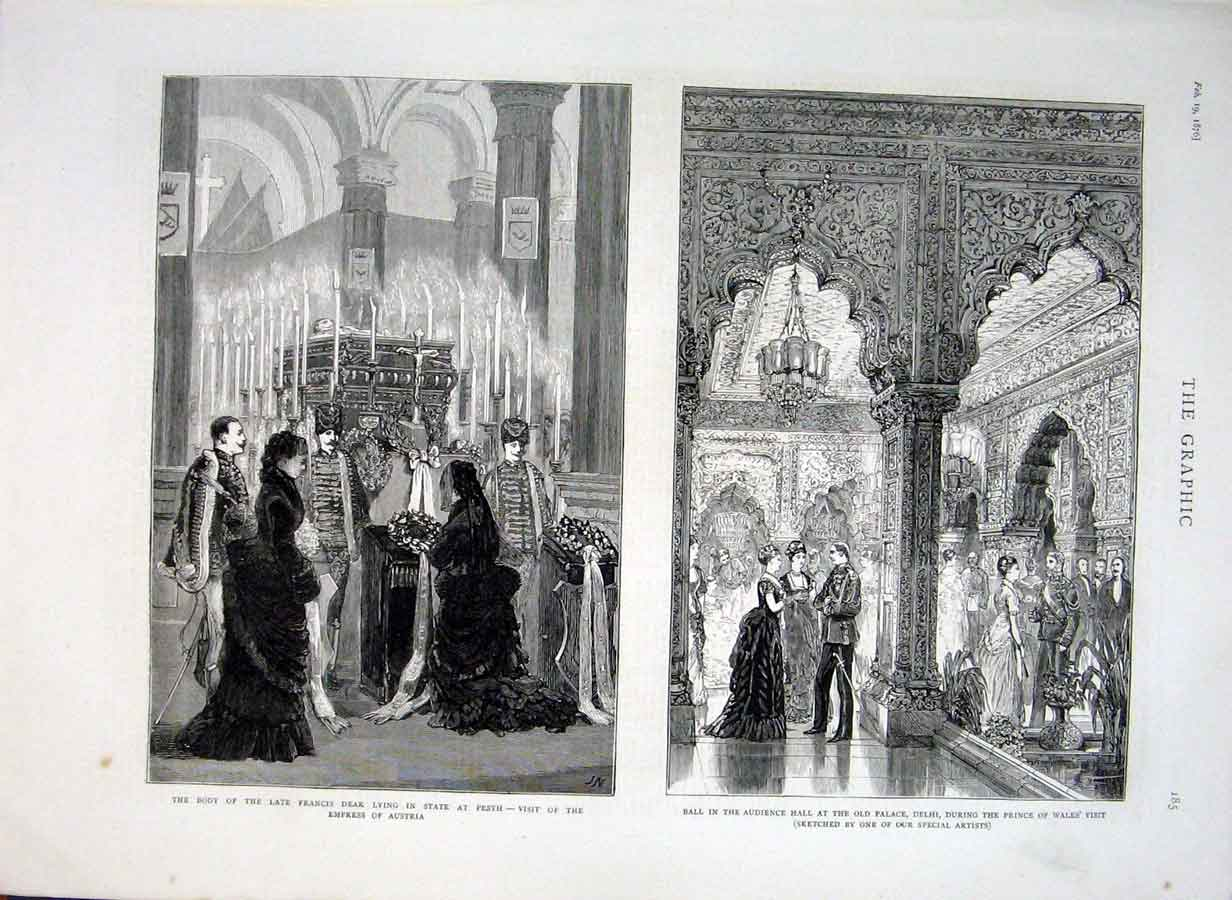 Print Francis Deak Lying In State Pest Palace Delhi 1876 85Bbb0 Old Original