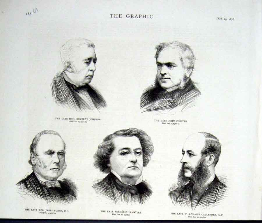 Print Portraits Rev Johnson Forster Rev Burns Lemaitre Ca 88Ubbb0 Old Original