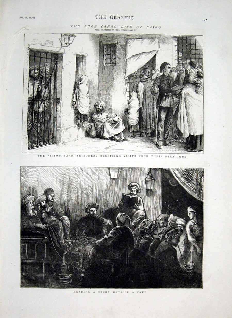Print Suez Canal Life At Cairo Prison 1876 Egyp 97Bbb0 Old Original
