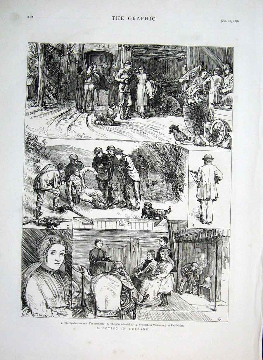 Print Shooting In Holland 1876 The Accident 12Bbb0 Old Original