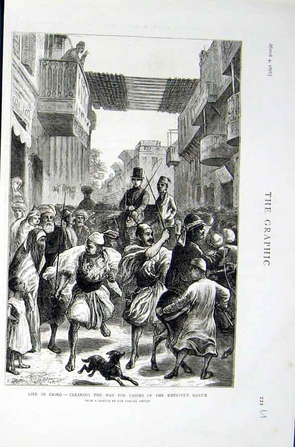 Print Clearing Way For Ladies Khedive'S Harem Cairo 1876 21Ubbb0 Old Original
