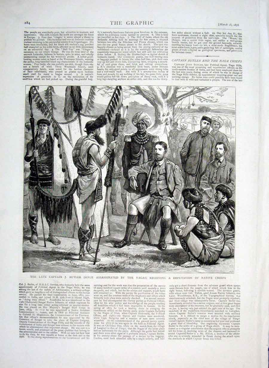 Print Capt Butler Receiving Native Chiefs 1876 Indi 84Bbb0 Old Original