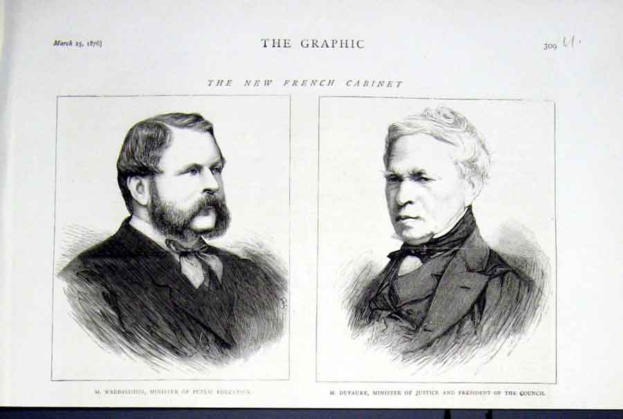 Print M Waddington M Dufaure New French Ministers 1876 09Ubbb0 Old Original