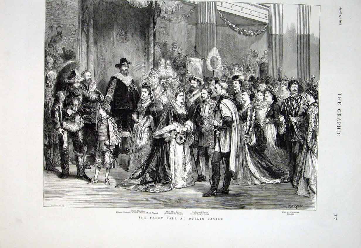 Print Fancy Ball Dublin Castle 1876 Ireland 17Bbb0 Old Original