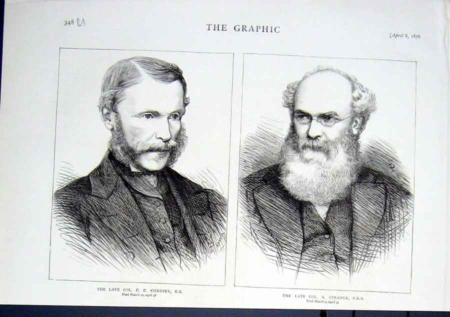 Print Portraits Col Chesney & Strange 1876 48Ubbb0 Old Original