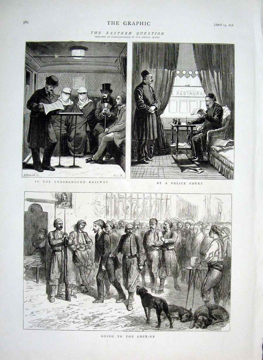 Print Police Court & Lock Up Constaninople Turkey 64Bbb0 Old Original