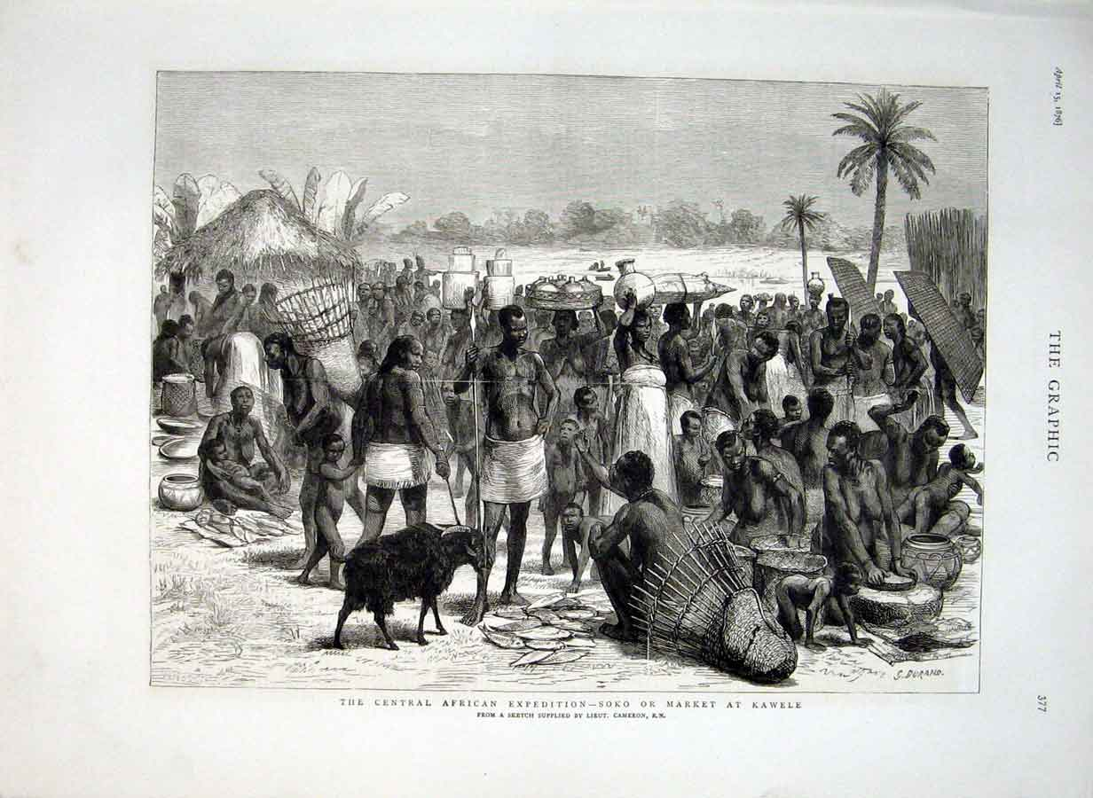 Print Market At Kawele Central Africa 1876 77Bbb0 Old Original