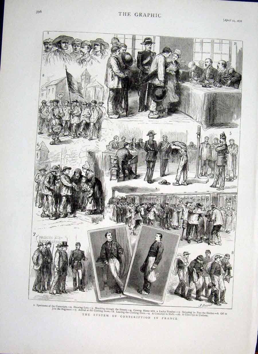 Print System Conscription In France 1876 96Bbb0 Old Original