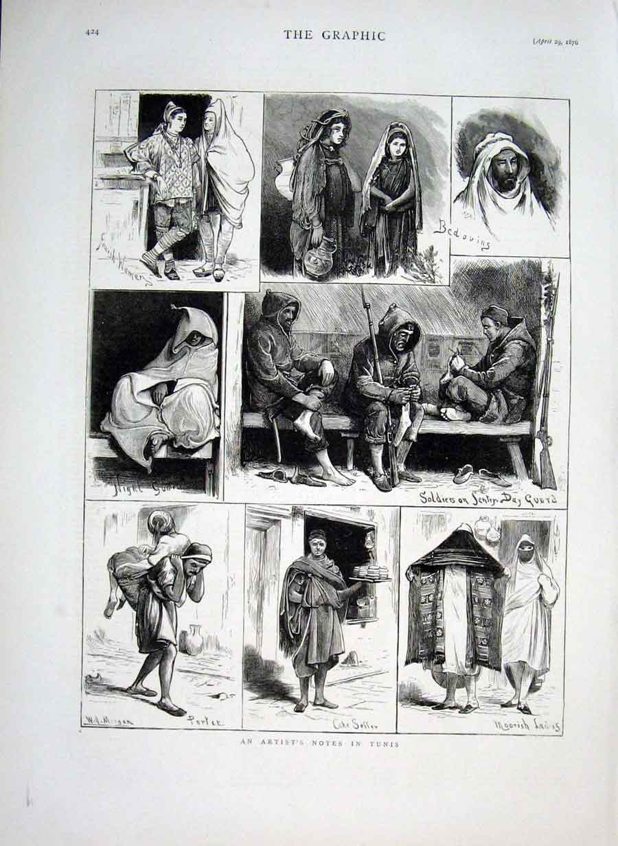Print An Artist In Tunis 1876 24Bbb0 Old Original