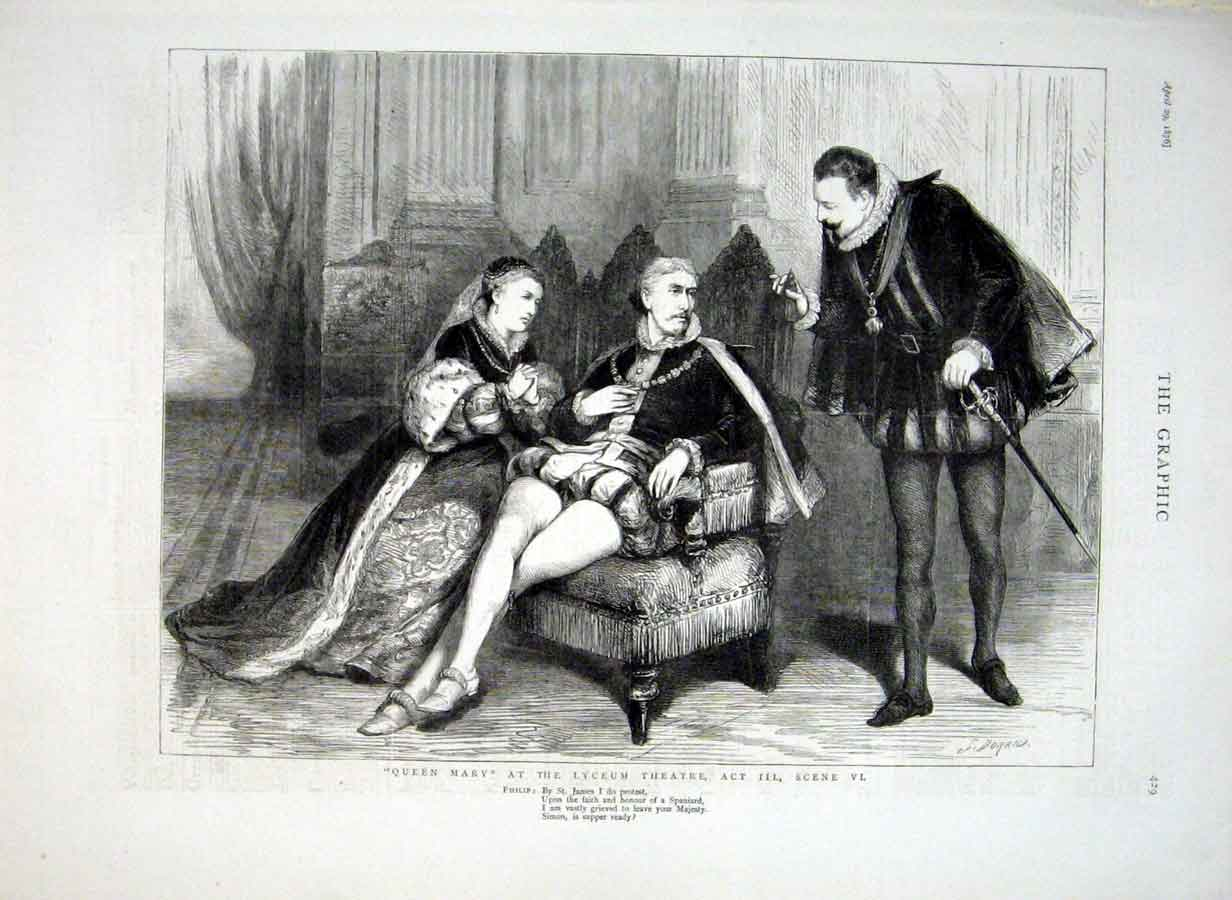 Print Theatre 1876 Queen Mary At Lyceum 29Bbb0 Old Original