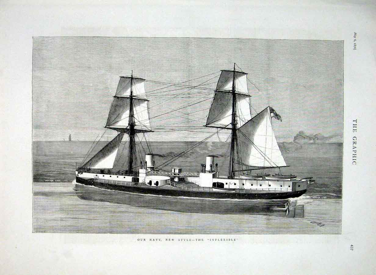 Print Navy New Style The Inflexible 1876 Ships 37Bbb0 Old Original
