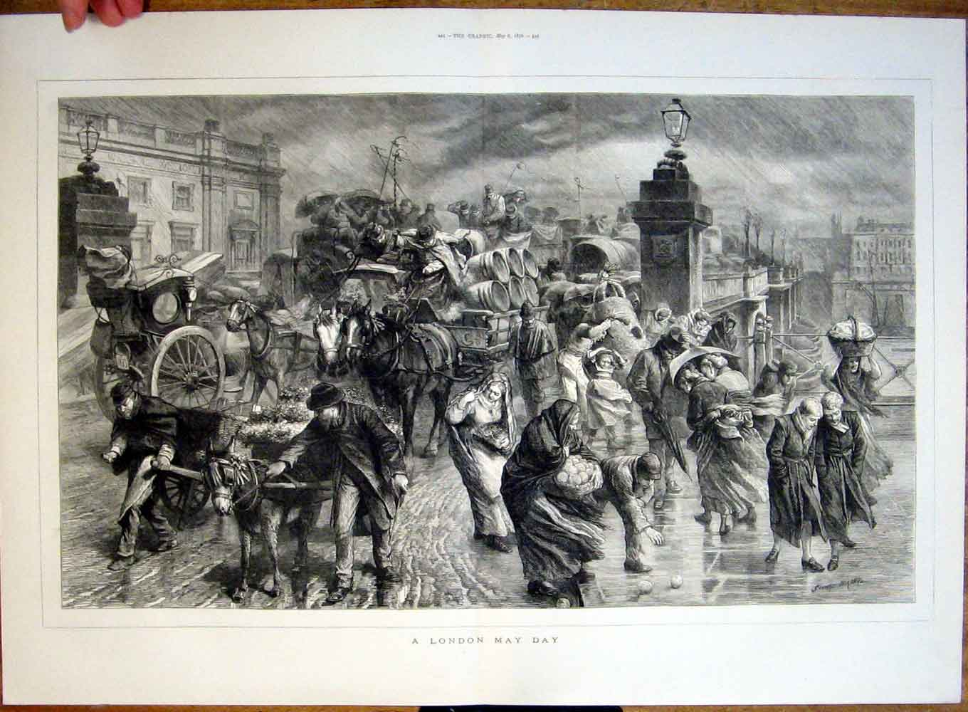 Print A London May Day 1876 What Weather !! 43Tbbb0 Old Original