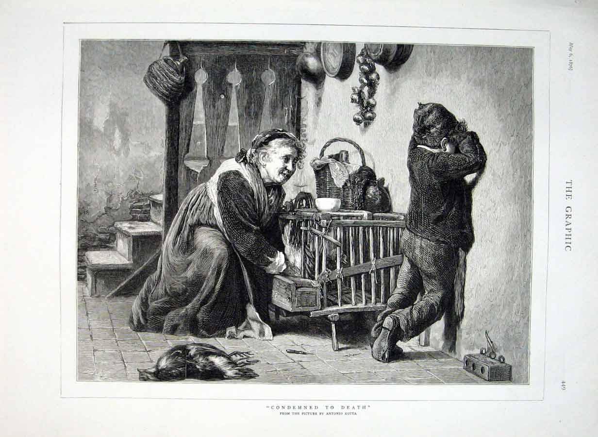 Print Childs Pet Condemned To Death Fine Art By Rotta 1876 49Bbb0 Old Original