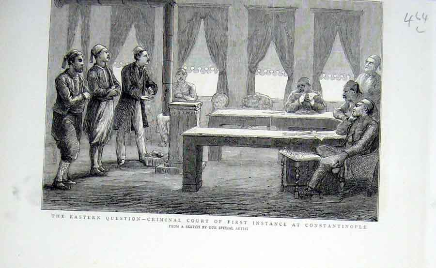 Print Criminal Court First Instance Constantinople 1876 Tu 64Lbbb0 Old Original