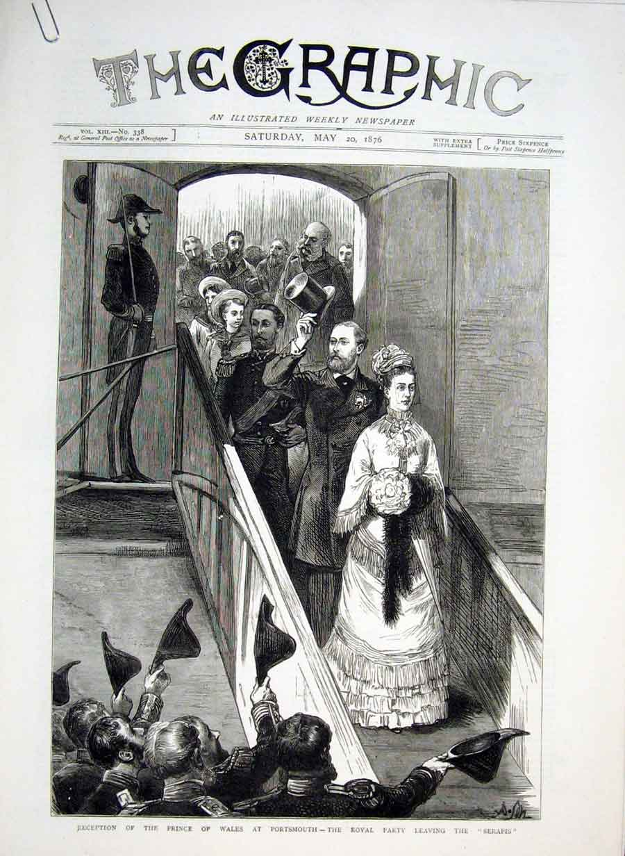 Print Portsmouth Reception Prince Wales 1876 84Abbb0 Old Original