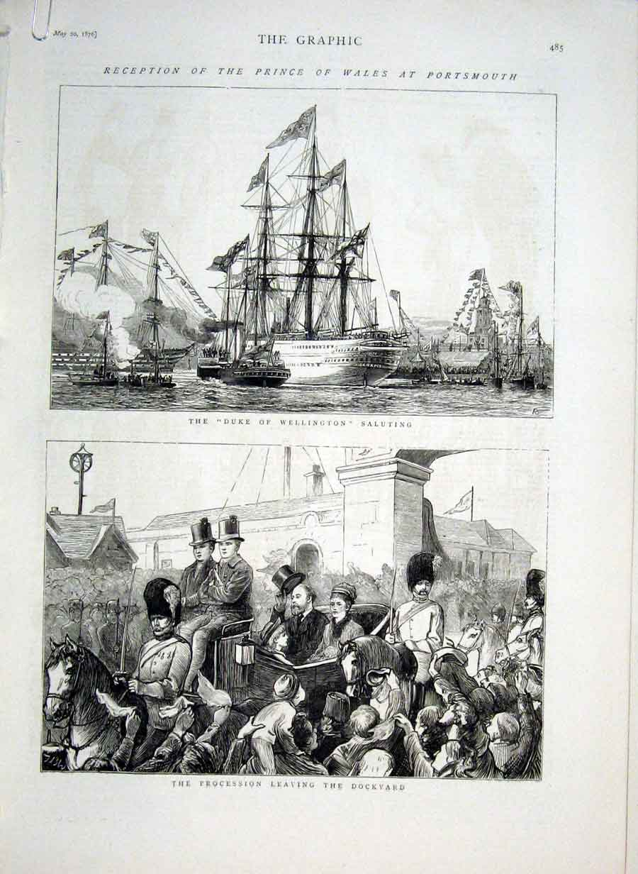 Print Prince Wales At Portsmouth 1876 85Abbb0 Old Original