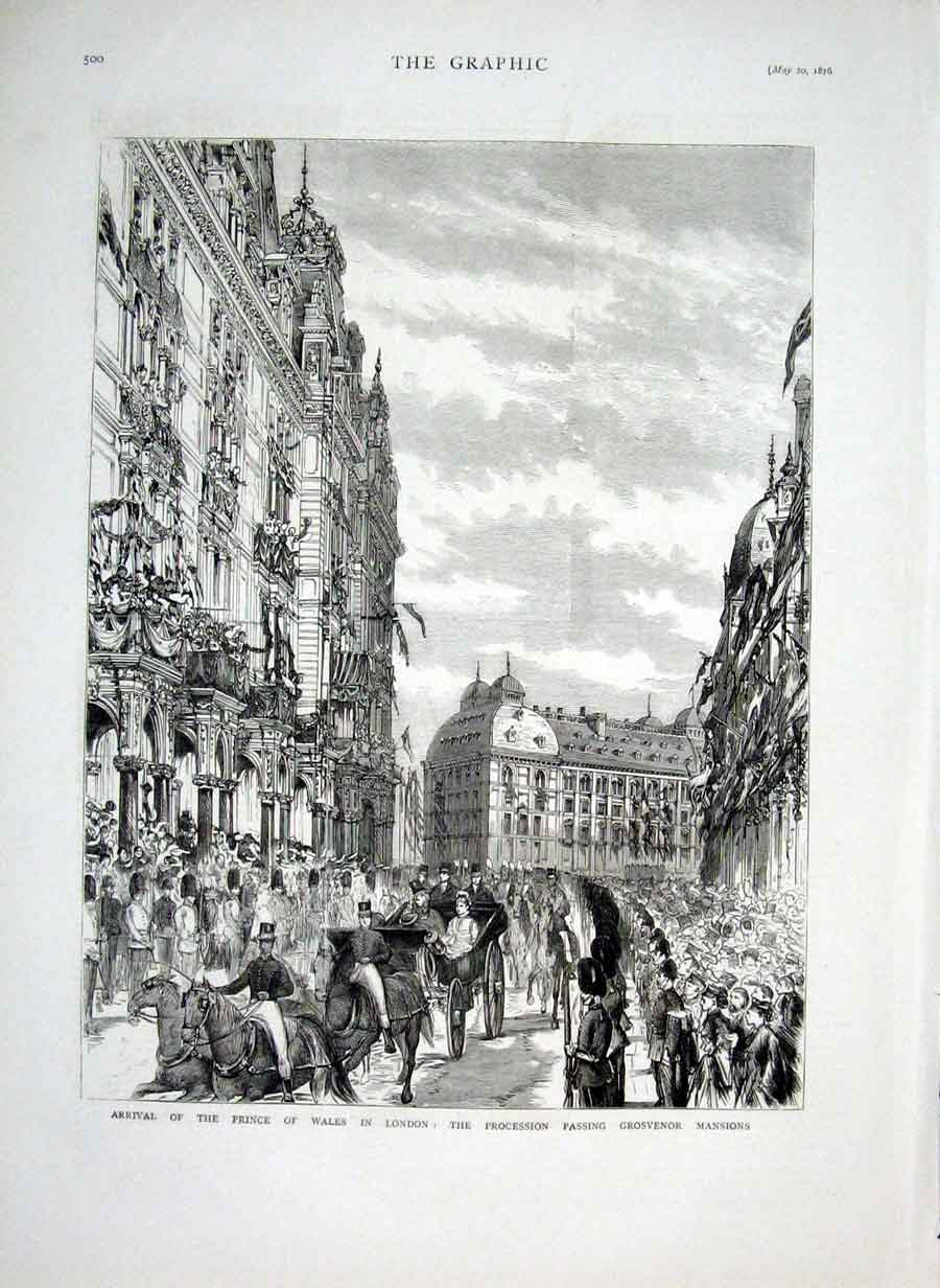 Print Royal Procession Passing Grosvenor Mansions London 1876 00Bbb0 Old Original