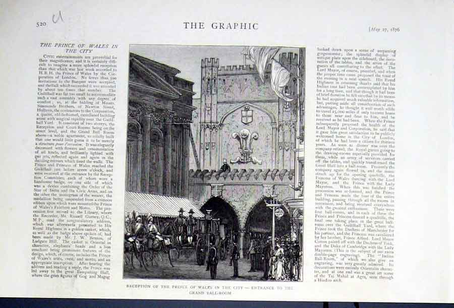 Print Entrance Grand Ball Room In Guildhall Yard London 20Ubbb0 Old Original
