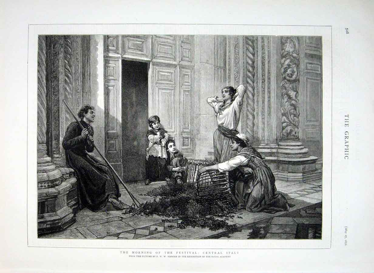 Print Morning The Festival Central Italy 1876 28Bbb0 Old Original