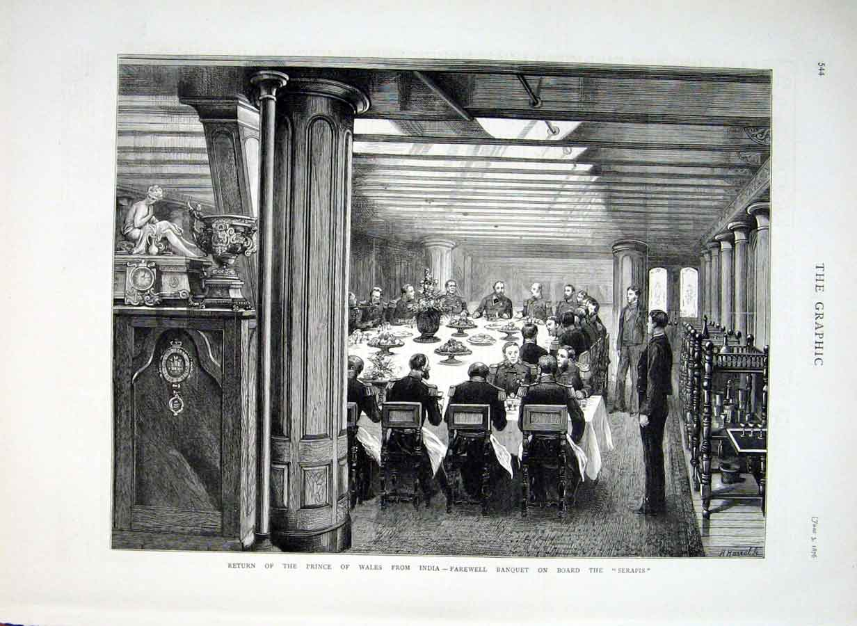 Print Royal Banquet On Board Seapis 1876 Ships 44Bbb0 Old Original
