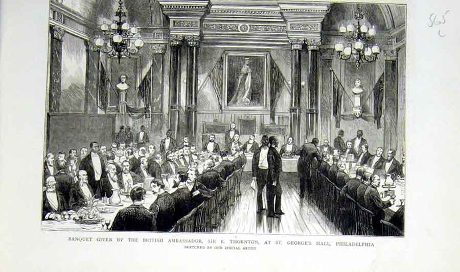 [Print Banquet In St Geaorges Hall Philadelphia 1876 65Lbbb0 Old Original]