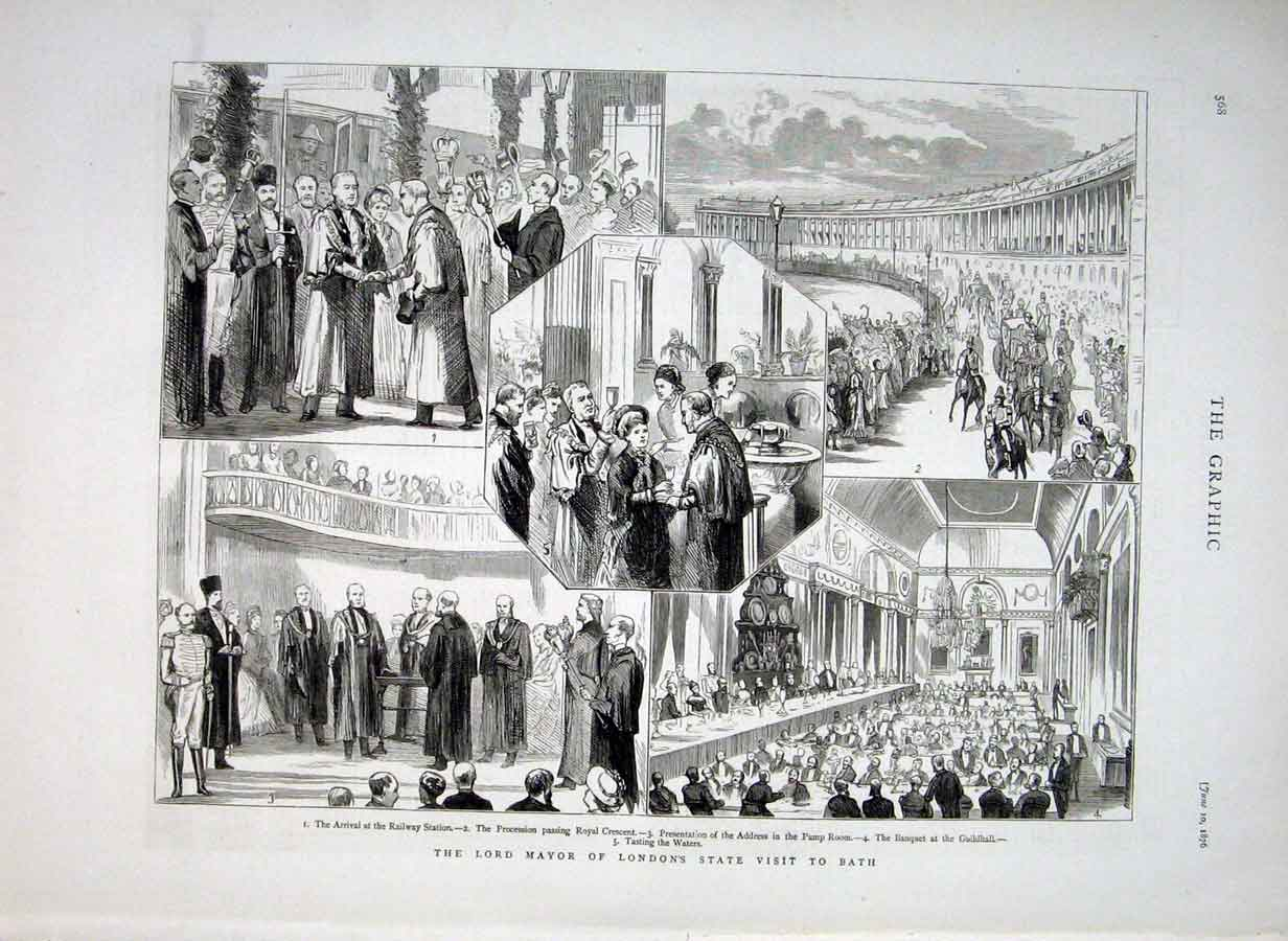 [Print London Mayor'S State Visit To Bath 1876 68Bbb0 Old Original]