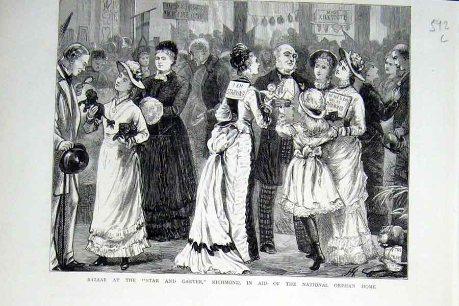 [Print Bazaar At Star & Garter Richmond In Aid Orphans Home 18 92Lbbb0 Old Original]