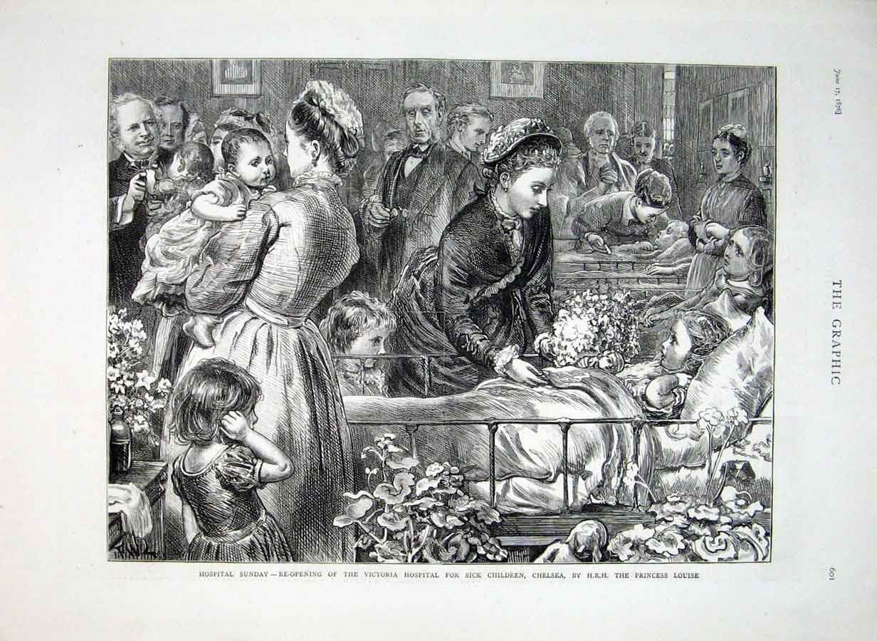 Print Victoria Hospital For Children 1876 Chelsea 01Bbb0 Old Original
