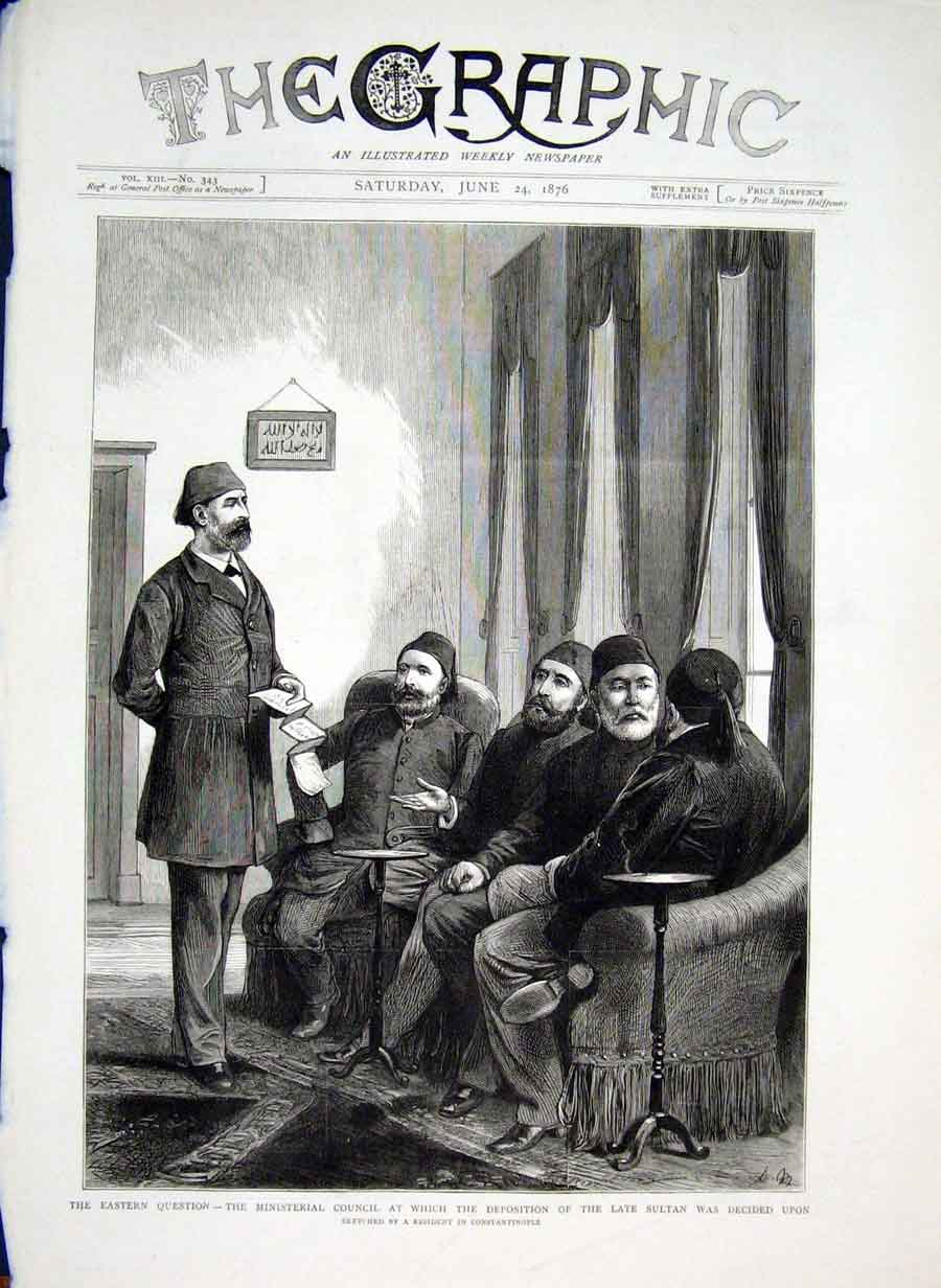Print Ministerial Council Constantinople 1876 Turke 10Bbb0 Old Original
