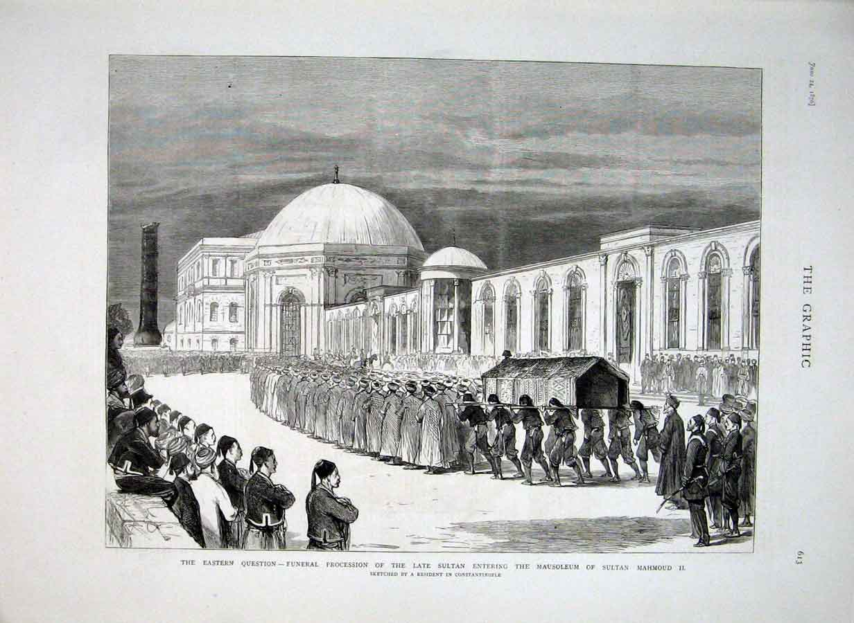 [Print Funeral Procession Sultan 1876 Turkey 13Bbb0 Old Original]