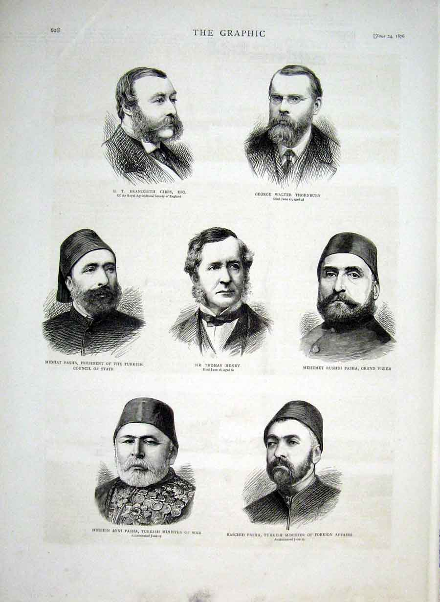 Print Turkish Ministers 1876 & Gibbs Thornbury 28Bbb0 Old Original